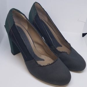 Marni green & black fabric frayed ends pumps 38